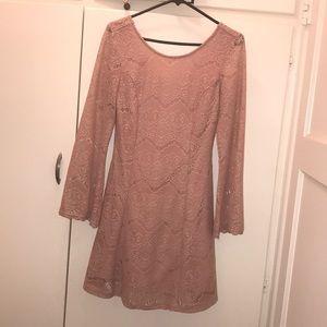 Mauve Long Sleeve Lace Inset Dress